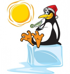 Penguin on ice vector
