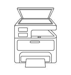 Multi-function printer in outline style isolated vector image