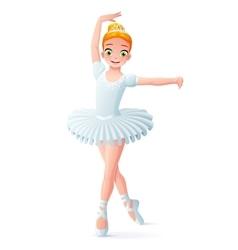 Cute smiling young dancing ballerina girl vector
