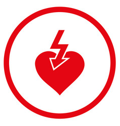 Heart shock strike rounded icon vector