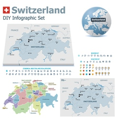 Switzerland maps with markers vector image