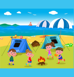 Camping at the seaside vector