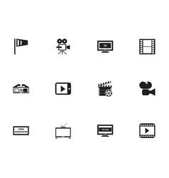 set of 12 editable cinema icons includes symbols vector image