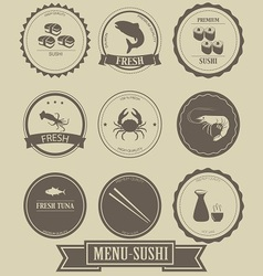 Menu sushi label design vector