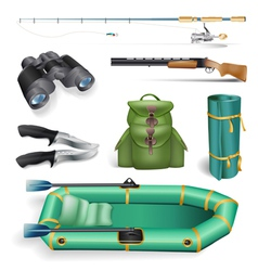 ishing and hunting objects vector image