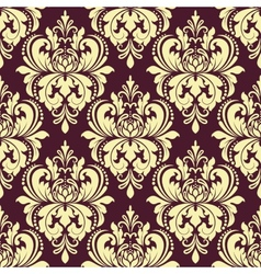 Purple and yellow floral damask seamless pattern vector