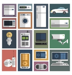 Internet things icons set flat vector image