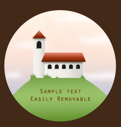Church on a hill in a circle frame vector