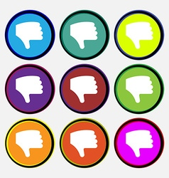 Dislike thumb down hand finger down icon sign nine vector