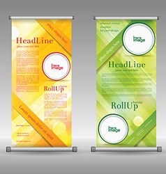 A rollup display with stand banner template design vector
