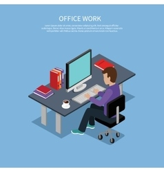 Isometric man office work interior design vector