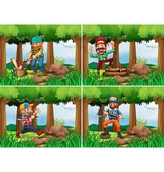 Four lumberjack chopping woods vector