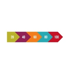 Colorful percentage diagram icon flat style vector