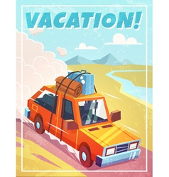 Grunge vacation background with car vector
