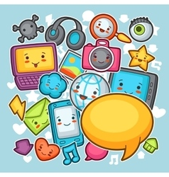 Kawaii gadgets social network background Doodles vector image