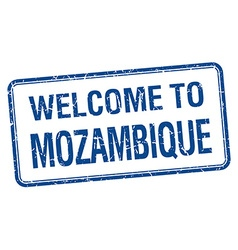 Welcome to mozambique blue grunge square stamp vector