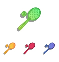 Tennis racquet sign colorfull applique icons set vector