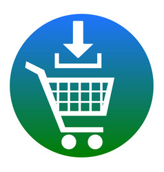Add to shopping cart sign white icon in vector