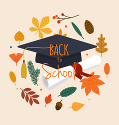 back to school with graduation cap diploma and vector image vector image