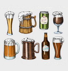 beer glass mug or bottle of oktoberfest engraved vector image vector image
