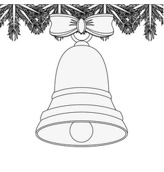 bell with ribbon bow with garland ornament vector image