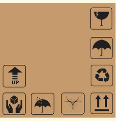 Black fragile symbols and packing box icon vector