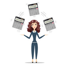 businesswoman or manager holding calculator vector image