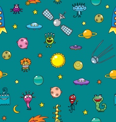 cartoon space and aliens seamless pattern vector image vector image
