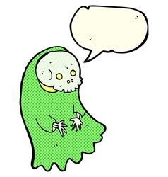 Cartoon spooky ghoul with speech bubble vector