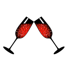 Champagne red glasses vector