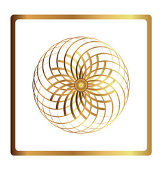 Circular pattern geometric icon gold flower vector