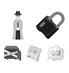 Coded lock the appearance of the detective a vector