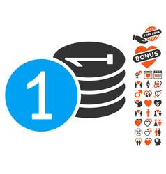 coins icon with love bonus vector image