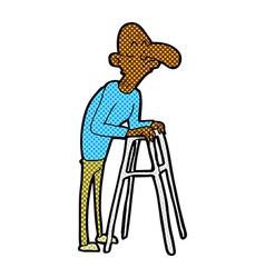 Comic cartoon old man with walking frame vector