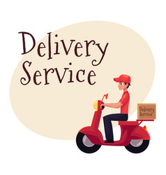 courier delivery service worker riding scooter vector image vector image