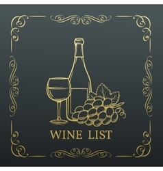 Decorative gold Banner Wine design vector image