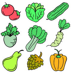 Doodle of vegetable cartoon design vector