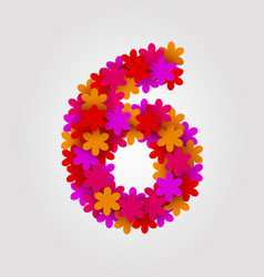 Floral numbers colorful flowers number 6 vector