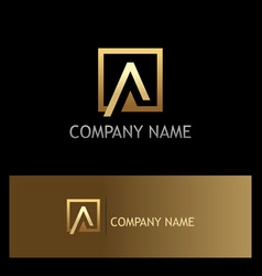gold square letter a triangle logo vector image vector image