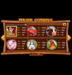 Info screen for slot game on wooden background vector