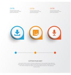 Internet icons set collection of chat down arrow vector