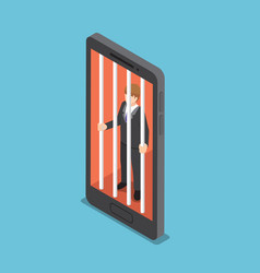 isometric businessmen are trapped in a smartphone vector image vector image