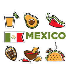 Mexico flad and traditional cuisine isolated vector