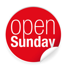 Open sunday label sticker vector