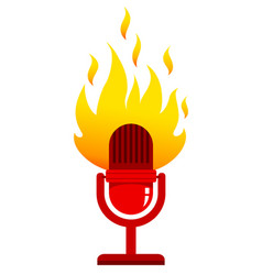 red microphone with fire vector image vector image