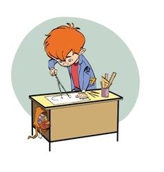 Schoolboy boy drawing lesson designer engineer vector image vector image