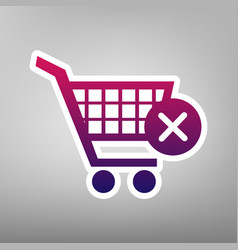 shopping cart with delete sign purple vector image