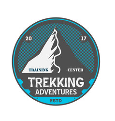 Trekking adventures vintage isolated badge vector