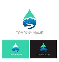 water drop mountain logo vector image
