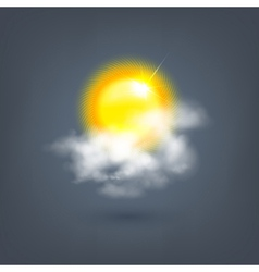 weather sun icon in the cloud vector image